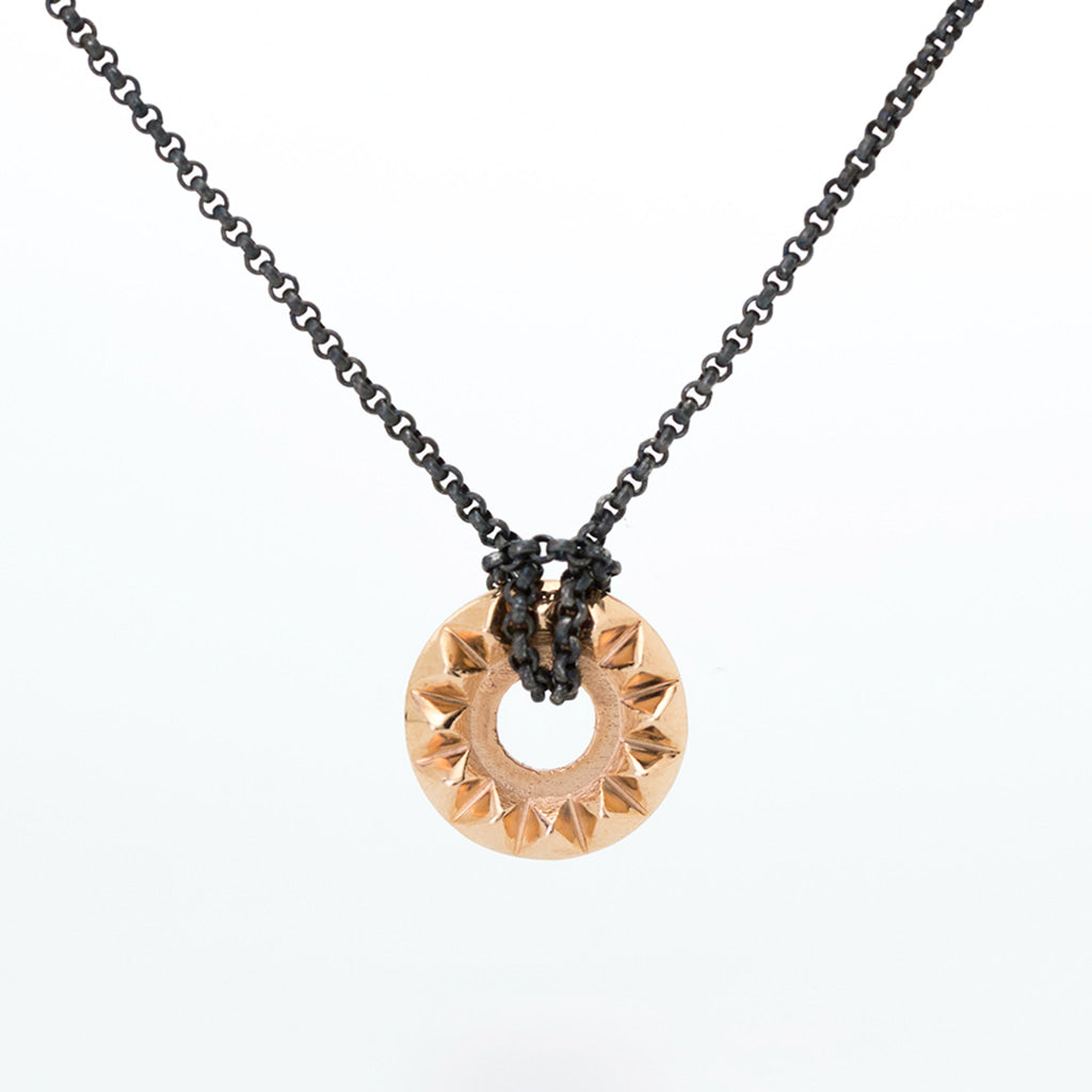 'Tender Love' 14K Rose Gold Pendant with Oxidized Silver Chain