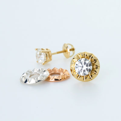'Tender Love' Stud Earring Jacket in 14K Yellow Gold
