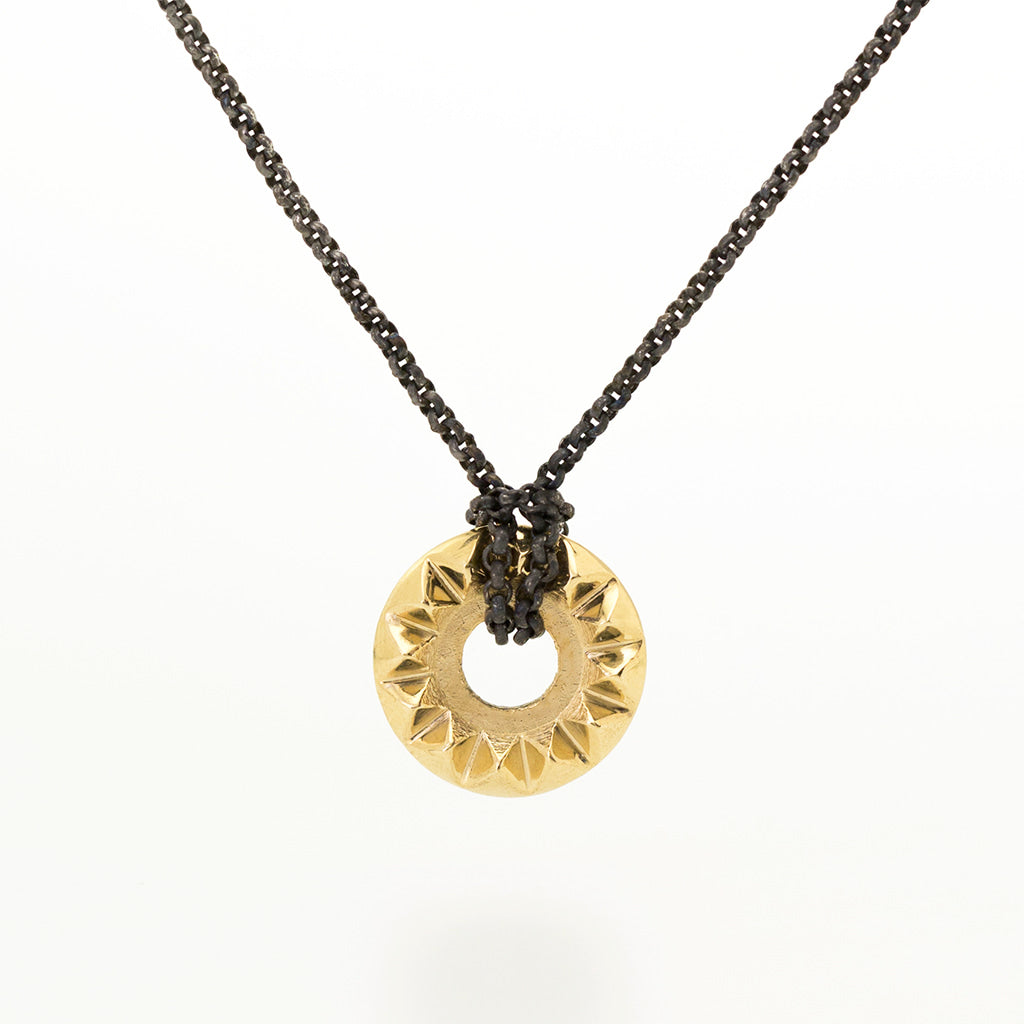 'Tender Love' 14K Yellow Gold Pendant with Oxidized Silver Chain