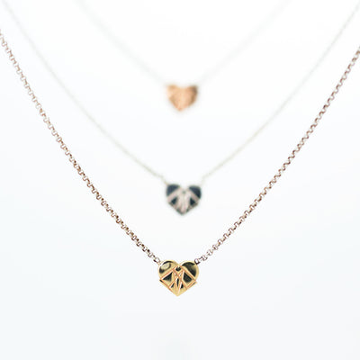 Modern Love 14K Rose Gold Floating Heart Pendant with Sterling Silver Chain