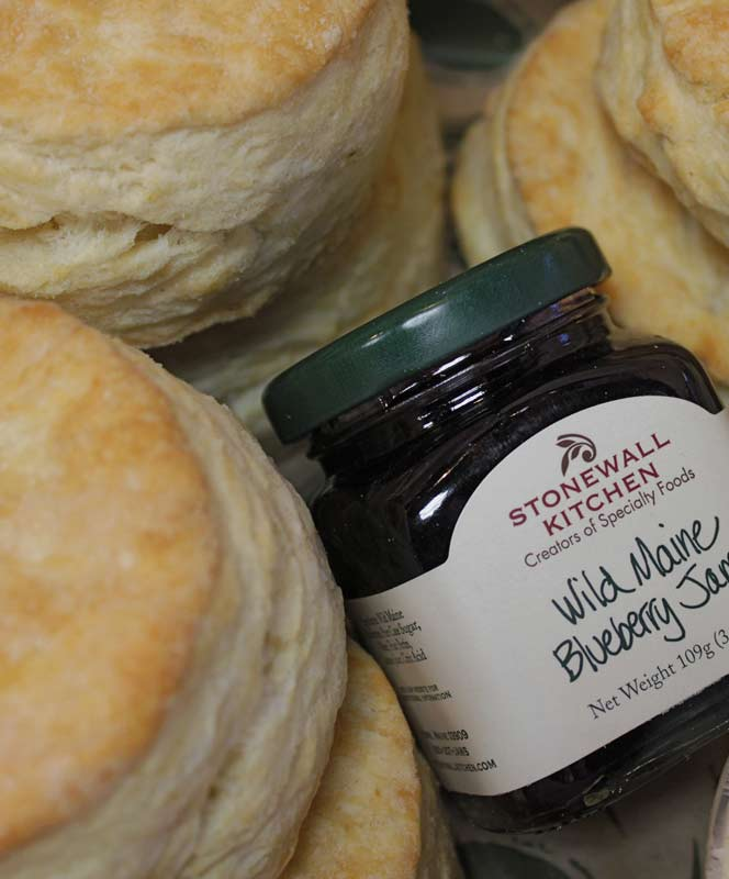 One Dozen Buttermilk Biscuits with Butter and Jam