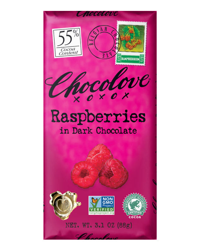 Chocolove Raspberries in Dark Chocolate 3.2 oz.
