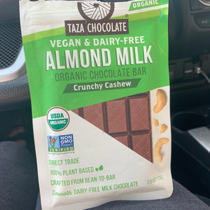 Taza Chocolate Almond Milk Crunchy Cashew Bar 2.5 oz.