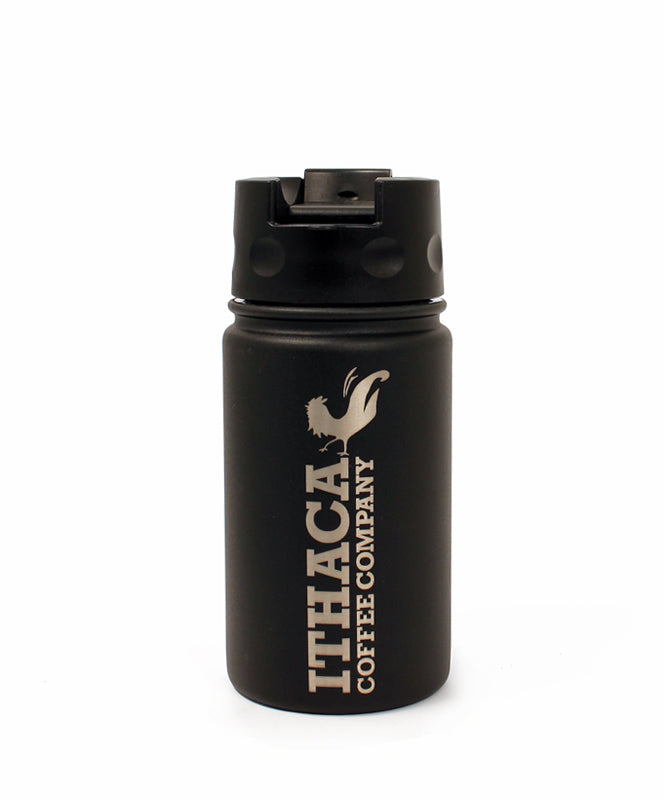 Ithaca Coffee Company Matte Black 12 oz Cafe Bottle with Flip Top