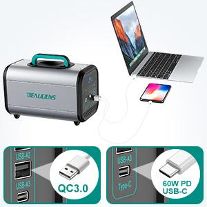 USB-C output of BEAUDENS 380wh portable power station