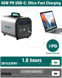 60W PD USB-C output of BEAUDENS 380wh portable power station