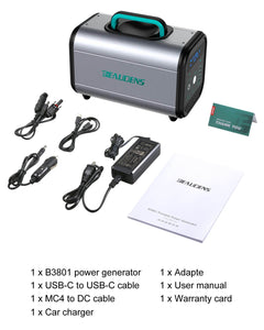 what in BEAUDENS 380wh portable power station's pakage