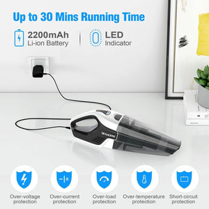 30 mins running time of BEAUDENS cordless handheld vacuum cleaner
