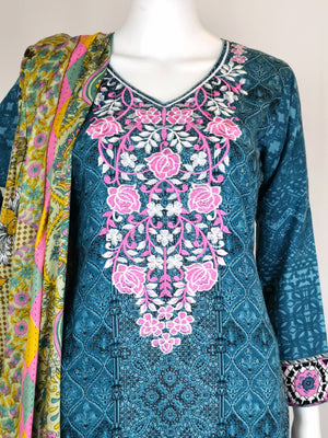 Blue printed trouser suit with embroidered neck line