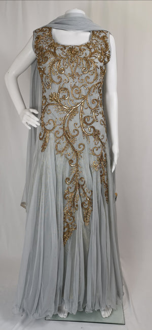 Long net gown suit