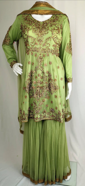 Peplum sharara suit