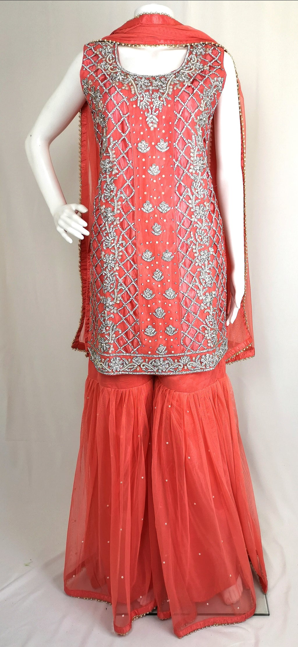 Cutwork sharara suit