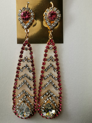 Pink and silver stone earrings
