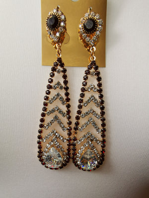 Maroon and silver stone earrings