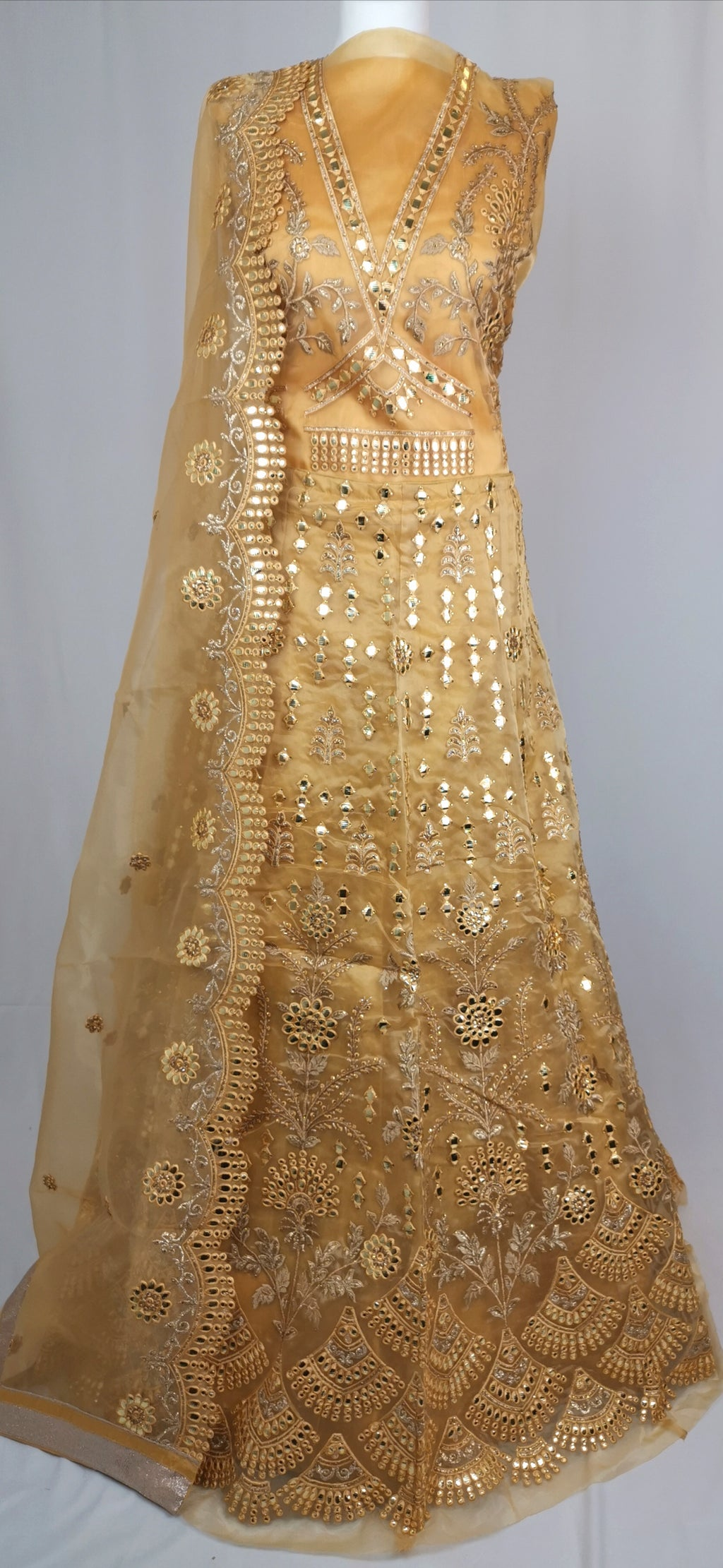 Gold unstiched  lehenga party/wedding wear
