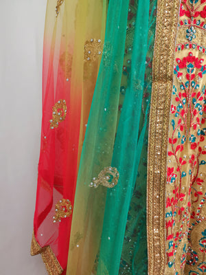 Multicolour unstiched embroidered lehenga