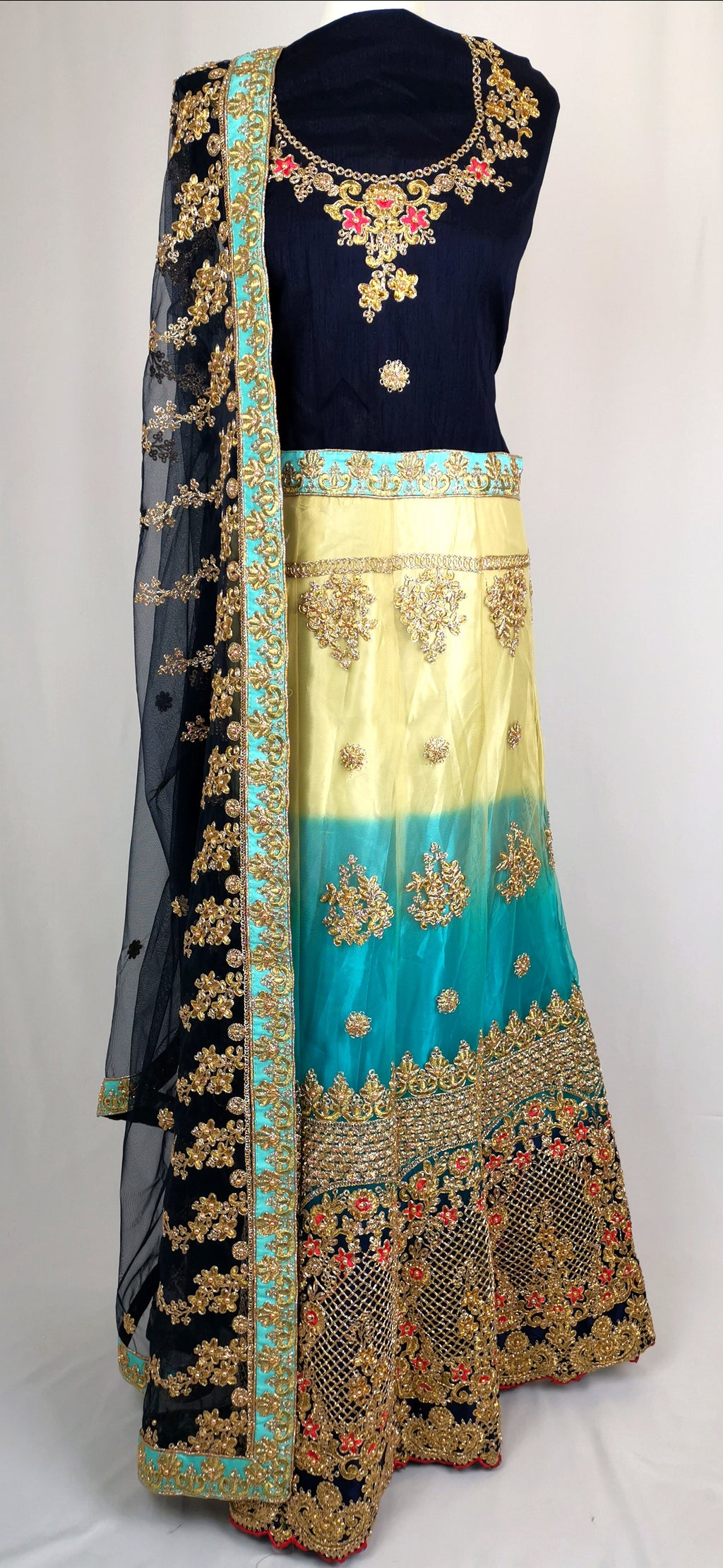 Blue unstiched lehenga wedding/partywear
