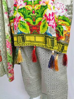 beige and green printed trouser suit with embroidered neckline