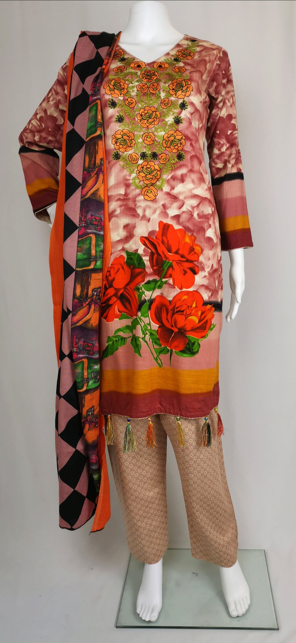 Peach printed trouser suit with embroidered neck line
