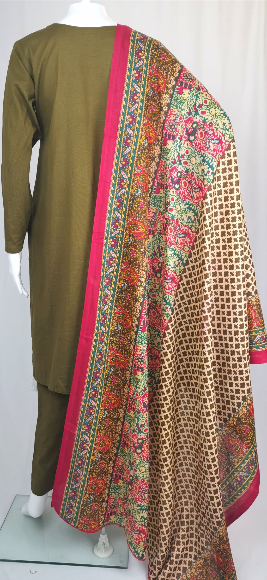 brown embroiderd trouser suit with printed shawl