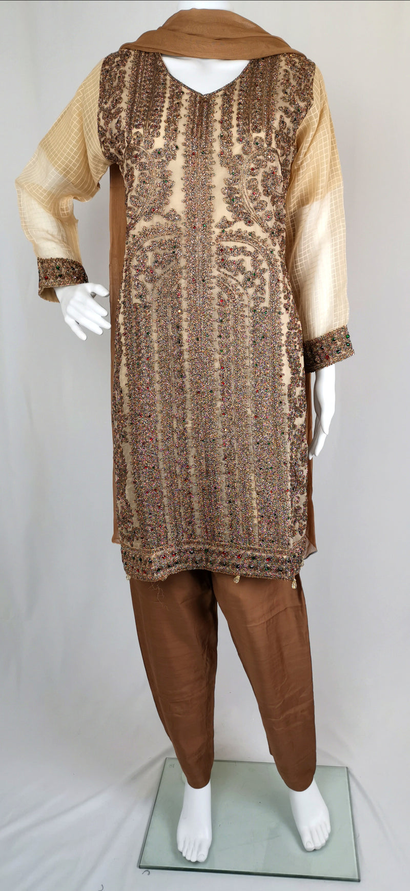 beige and brown soft tissue trouser suit with embroidery