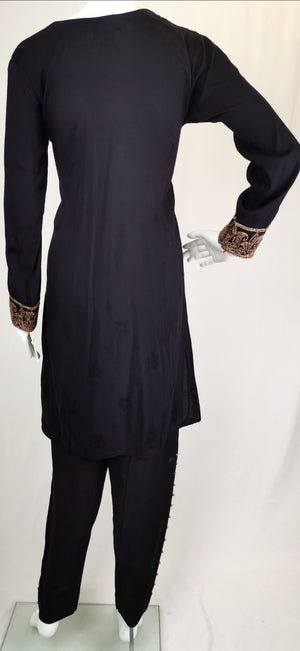 black linen trouser suit with embroidery