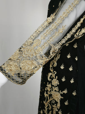 Black net trouser suit with gold embroidery