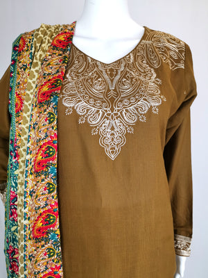 Brown embroidered trouser suit