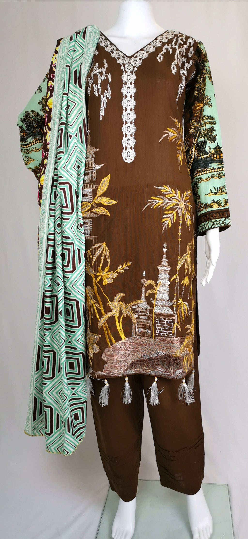 Brown and mint full embroidered trouser suit