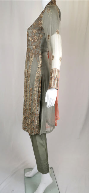 grey chiffon trouser suit with embroidery