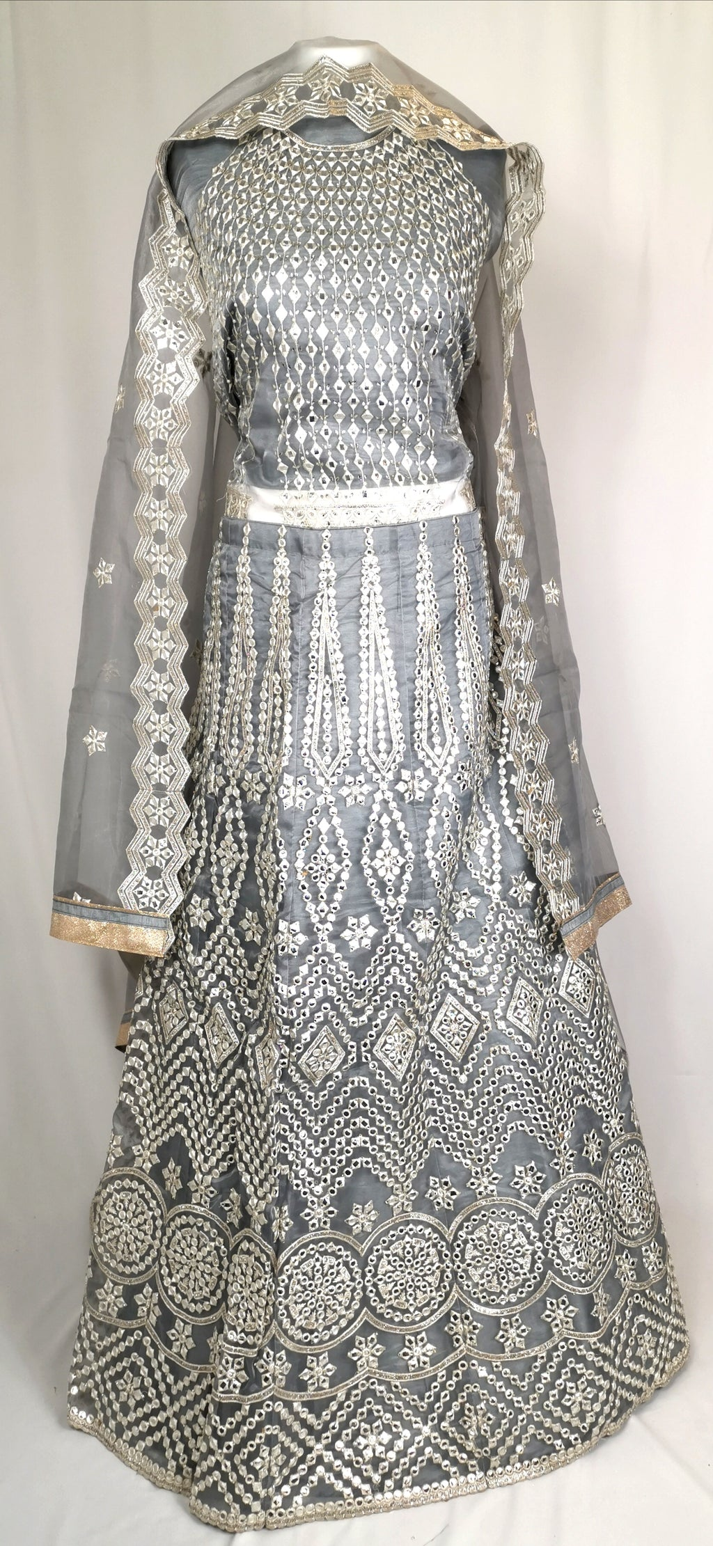 Grey unstiched lehenga with gota work