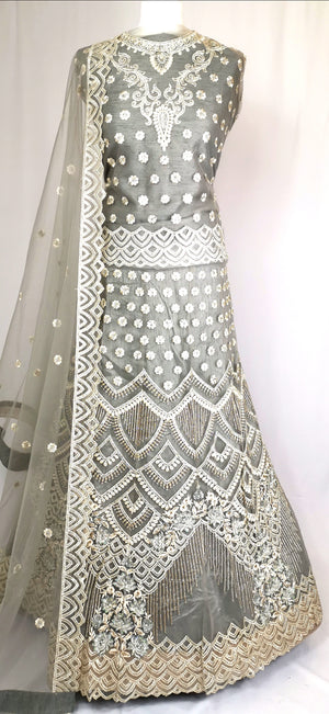Grey unstiched lehenga party/wedding wear