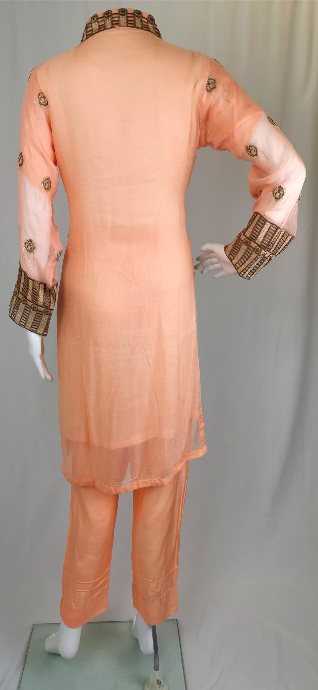 Peach chiffon trouser suit with embroidery
