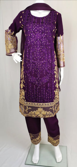 Purple net trouser suit with gold embroidery