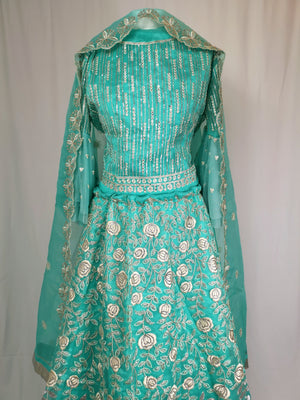 Turquoise unstiched lehenga wedding/partywear