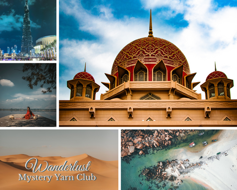 The mood board used for the November Wanderlust Mystery Yarn Club, made up of landscapes and architecture of Asia. The colours are: sandy golds, aquas, deep blues and reds.