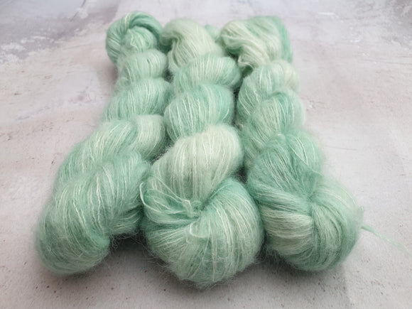 Cool Mint. Suri Silk Cloud lace
