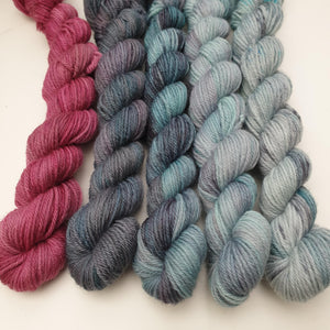 Cool Mini Set (5 x 20g). Non Superwash Merino 4-ply/fingering