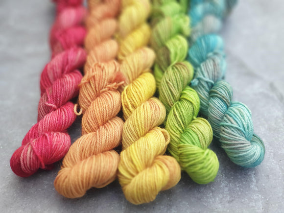 Heathered Rainbow Mini Set. Merino Nylon 4-ply/fingering