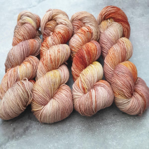 Salted Caramel OOAK. Merino Nylon High Twist 4-ply/fingering