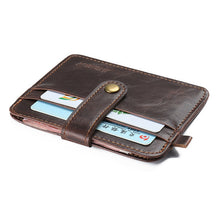 Charger l'image dans la galerie, Hot Vintage Crazy horse leather slim Men's wallet with small money bag man thin credit card holder mini purse for male