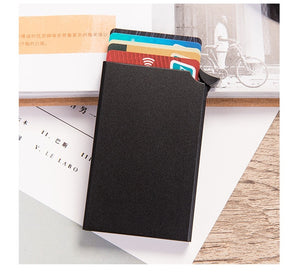 BISI GORO Smart Wallet Thin ID Card Case RFID Anti-theft Unisex Automatically Solid Metal Bank Credit Card Holder Business Mini