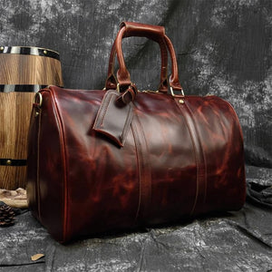 MAHEU Men Genuine Leather Travel Bag Travel Tote Big Weekend Bag Man Cowskin Duffle Bag Hand Luggage Male Handbags Large 60cm