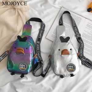 Casual Women Chest Packs Female Casual PU/Canvas Cartoon Cute Duck Girls Phone Pouch Zip Crossbody Shoulder Teens Messenger Bag
