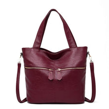 Charger l'image dans la galerie, LONOOLISA Double Zipper Soft Leather Luxury Handbags Women Bags Designer New Large Tote Bag Female Shoulder Bag Sac A Main Femme
