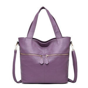 LONOOLISA Double Zipper Soft Leather Luxury Handbags Women Bags Designer New Large Tote Bag Female Shoulder Bag Sac A Main Femme