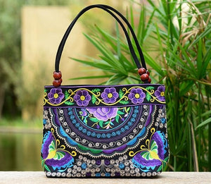Vintage Women Handbag National Ethnic Canvas Embroidery Totes Wood Beads Double Zipper Travel Shoulder Bag Sac Femme Bolsos