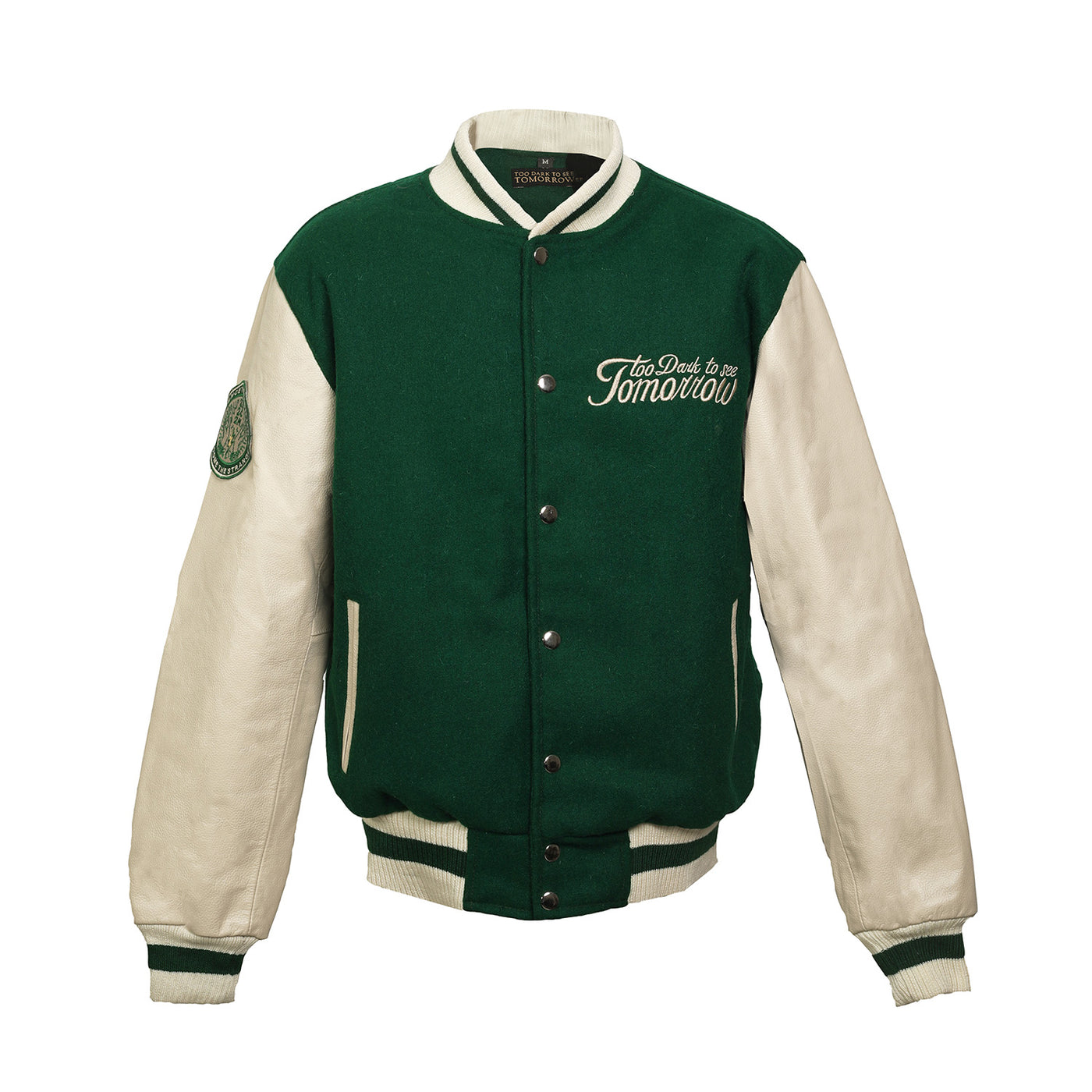 GREEN WOOL & LEATHER VARSITY JACKET