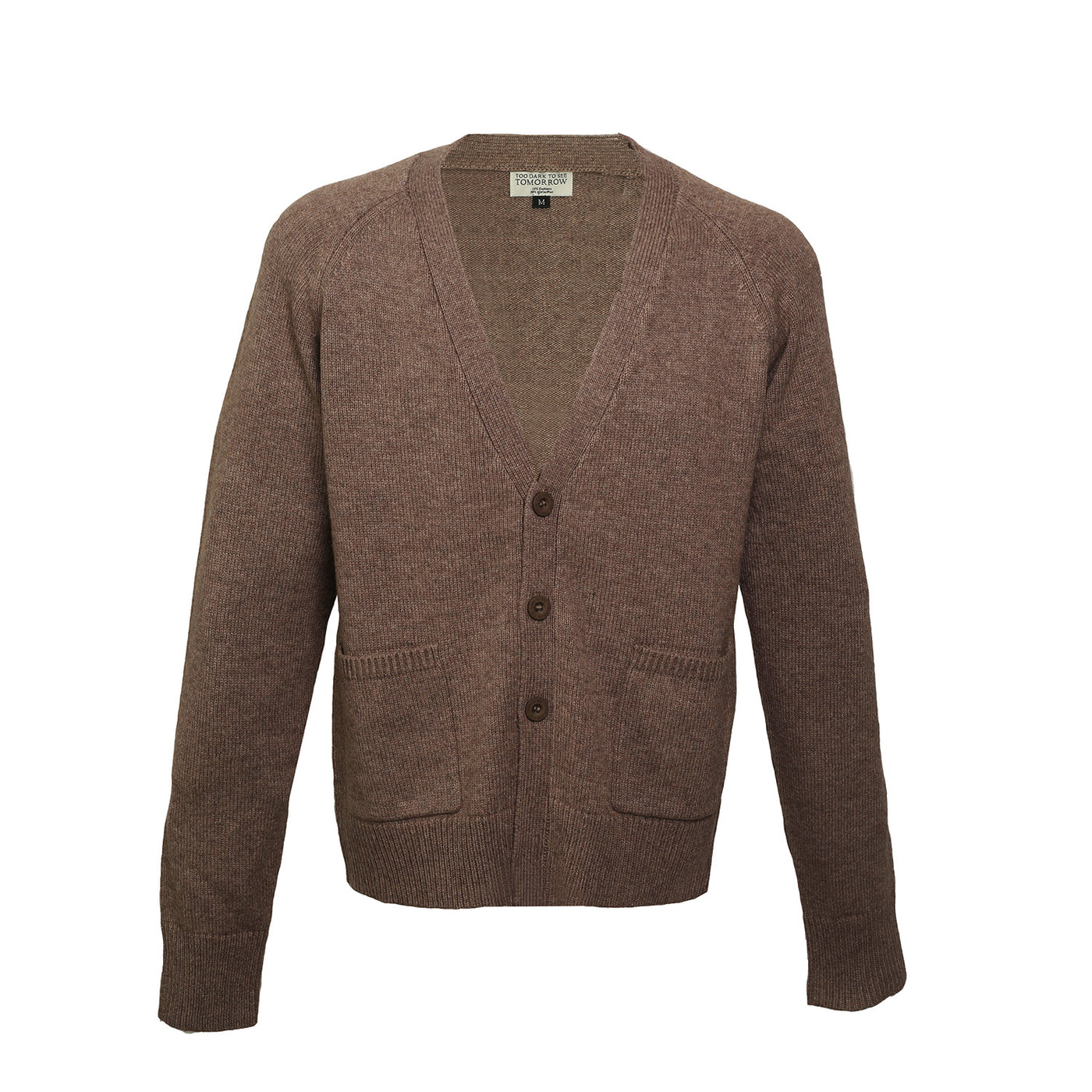 BROWN WOOL & CASHMERE CARDIGAN