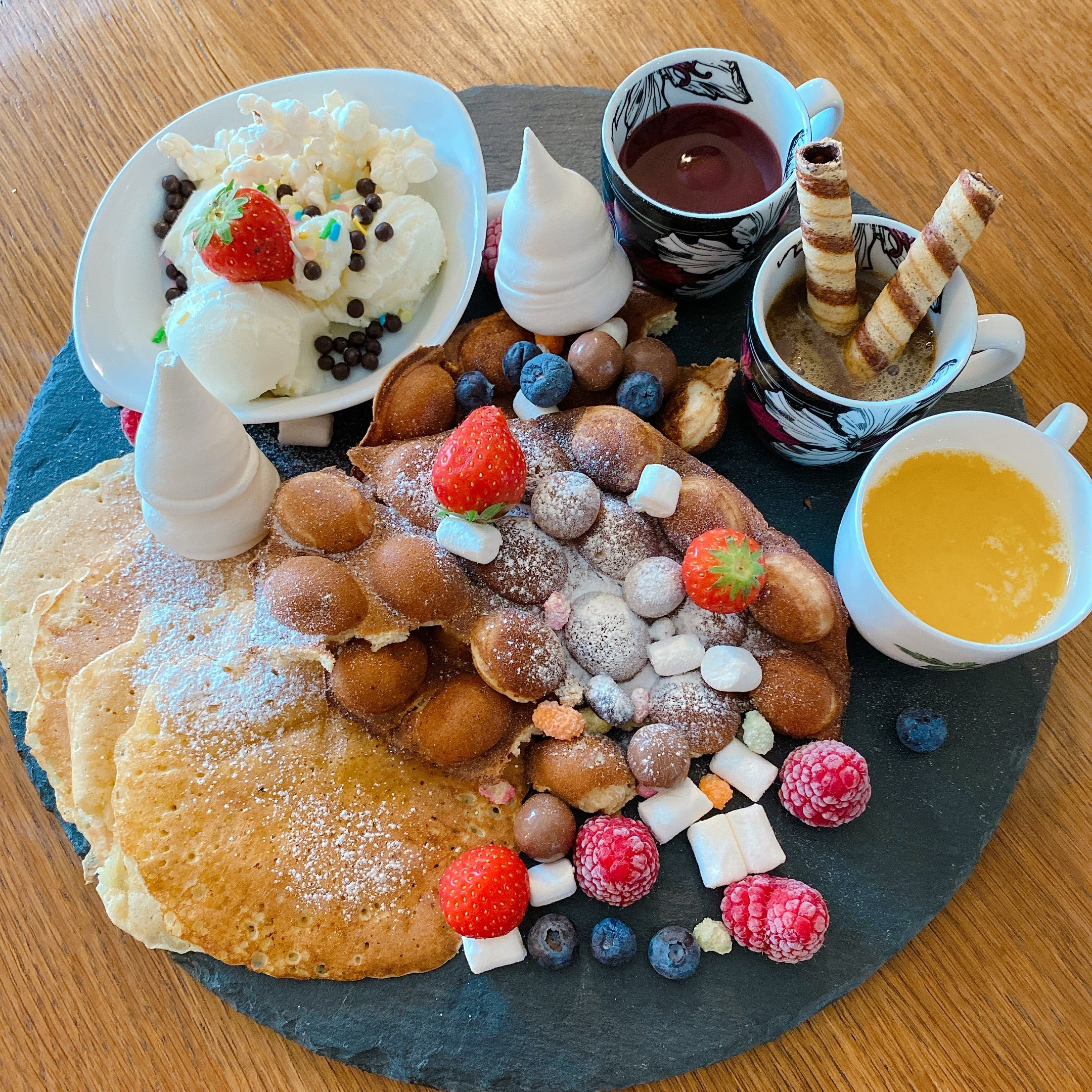 A Pancake and Waffle platter for 2 to takeaway (Wednesday & Saturdays 11-1)